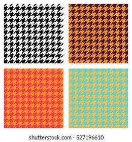 Set of seamless duotone textile patterns. Chekered ornament houndstooth, hounds tooth check, hound's tooth, dogstooth, dogtooth, dog's tooth or pied-de-poule.