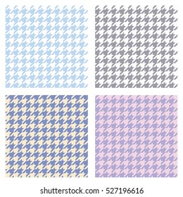 Set of seamless duotone textile patterns. Ornament houndstooth, hounds tooth check, hound's tooth, dogstooth, dogtooth, dog's tooth or pied-de-poule.