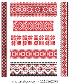 Set of seamless embroidered goods like handmade cross-stitch ethnic Ukraine pattern for design. Vector borders illustration on white background. Ukrainian national ornament decoration.