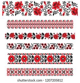 Set of seamless embroidered goods like handmade cross-stitch ethnic Ukraine pattern for design. Vector red and black borders illustration on white background. Ukrainian national ornament decoration.