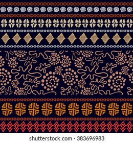 Set of seamless ethnic borders. Aboriginal arts motifs, hand drawn doodles, geometric prints. Fantasy trees, pagan drawings. Abstract vector pattern. Safari textile collection. Dark blue, golden, red.