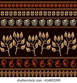 Set of seamless ethnic borders. Aboriginal arts motifs, hand drawn doodles, lizards border, fantasy trees. Safari textile collection. Terracotta colors.
