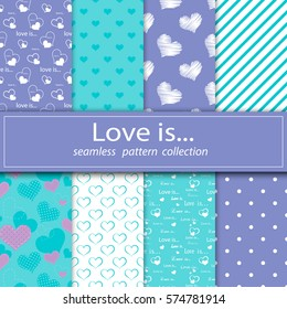 Set of seamless fabric.Stock vector. Eight canvases. Under the clipping mask. The feast day of St. Valentiney. Love and marriage. Stock vector. Decoration.