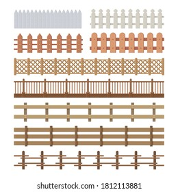 Set of seamless fences in flat style isolated on white
