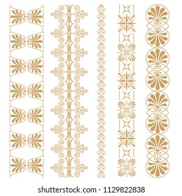 Set of seamless floral borders with a central element. Golden color. Can be used as a template for printing postcards or invitations, for textiles, engraving, wooden furniture. Vector.