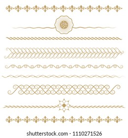 Set of seamless floral borders. Golden color on a white background. Can be used as a template for printing postcards or invitations, for textiles, engraving, wooden furniture. Vector.