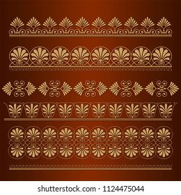 Set of seamless floral borders. Golden color on a dark background. Can be used as a template for printing postcards or invitations, for textiles, engraving, wooden furniture. Vector.