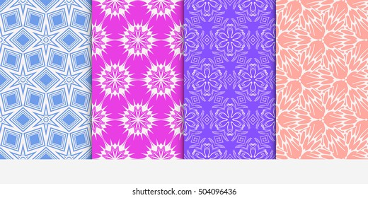 Set of seamless floral color pattern. ethnic ornament. Flower style. Vector illustration. Texture for design wallpaper, pattern fills, web page, banner, flyer.
