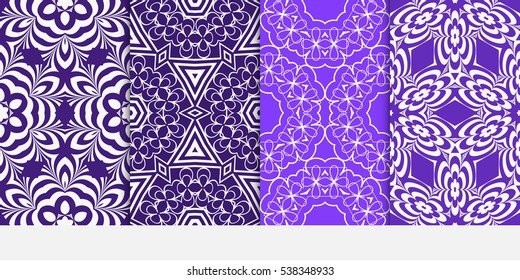 set of seamless floral geometric pattern. For invitation, design wallpaper. Vector illustration. Silver, purple color