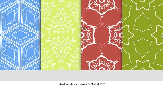 set of seamless floral geometric patterns. Texture for holiday cards, Valentines day, wedding invitations, design wallpaper, pattern fills, web page, banner, flyer. Vector illustration.