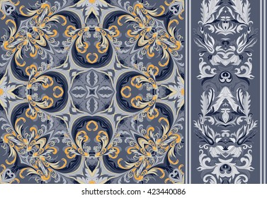 Set of seamless floral pattern and border for design. Hand draw vector Illustration. Seamless background with flowers. Blue gray gold tone.