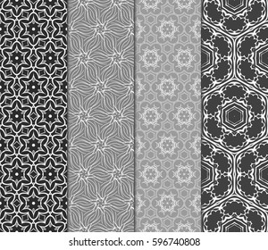 Set of seamless floral pattern with hand drawn texture. Ornament for interior design, greeting cards, birthday or wedding invitations, fabric print. Ethnic background in arabian style.
