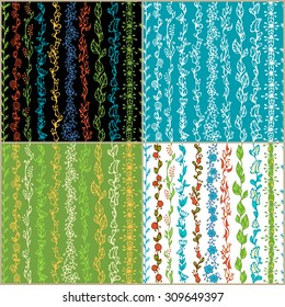 Set of seamless floral patterns. Hand-drawn doodles boundless textures can be used for web page backgrounds, wallpapers, wrapping papers, invitations and congratulations.