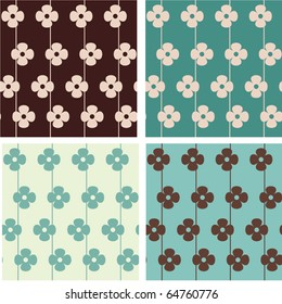 Set of seamless floral vector pattern