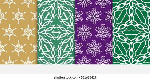 set of Seamless geometric floral pattern. Stylish graphic design. for design, wallpaper, invitation.