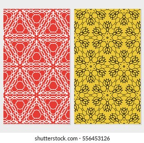 set of seamless geometric flower lace pattern. abstract vector illustration. for design invitation, background, wallpaper