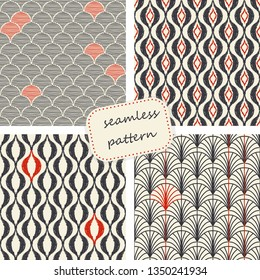 Set of Seamless geometric pattern in art deco style. Hand drawn lines. Design in art deco style for ceramic tile, wallpaper, linoleum, textile, web page background.