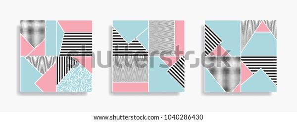 Set Seamless Geometric Pattern Memphis Design Stock Vector