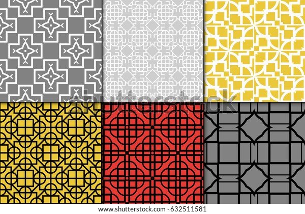 set of seamless geometric pattern. Repeating design. Vector texture