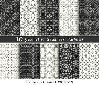 Set of seamless geometric patterns. Black and white line backgrounds collection. Endless repeating linear texture for wallpaper, packaging, banners, invitations, business cards, fabric print