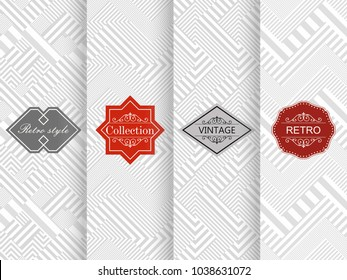 Set of seamless geometric patterns in light gray. Vector illustration vintage design. Abstract seamless retro patterns