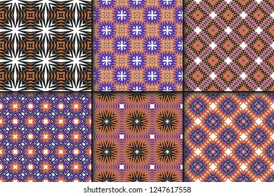 Set of Seamless geometric vector pattern. Design paper for scrapbook.