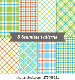 Set of Seamless Gingham Patterns in Pink, Magenta, Blue, Violet and White. Perfect for wallpapers, pattern fills, web backgrounds, textile, birthday and wedding cards