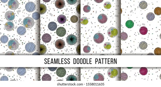 Set of seamless grunge dots modern patterns. Geometry circle fabric samples. Abstract vector illustrations