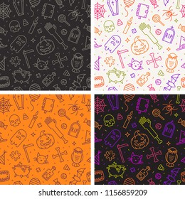 Set of seamless halloween background with holiday sign and symbols. Vector illustration.