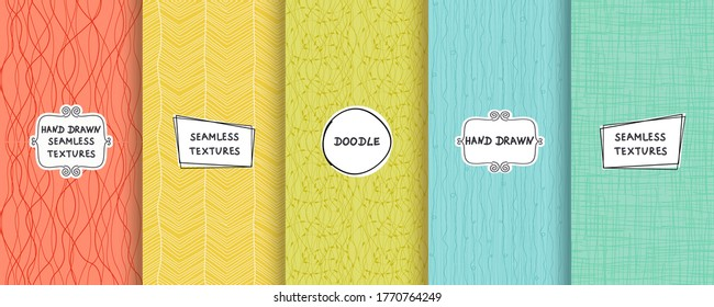 Set of seamless hand drawn texture designs for backgrounds, business cards, web design. Doodle pattern with trendy modern labels on bright background. vector illustration