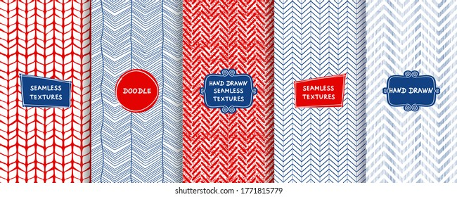 Set of seamless hand drawn texture designs for backgrounds, business cards, web design. Doodle zigzag pattern in blue, red and white colors with trendy modern labels. Vector illustration
