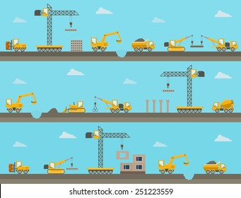 Set of seamless horizontal construction background with construction equipment icons. Vector illustration