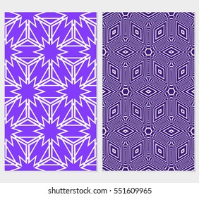 set of Seamless illusion cube patterns. Vector illustration. Texture for design wallpaper, web page, banner, flyer. Geometry ornament. blue background