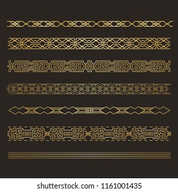 Set  Seamless  islamic ornamental borders. Arabic and Islamic tracery. Border decoration elements tracery. Vector illustration.
