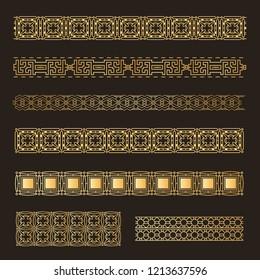 Set  Seamless  islamic ornamental tracery. Geometric line tracery, rhombus, squares, seamless background. Vector illustration.