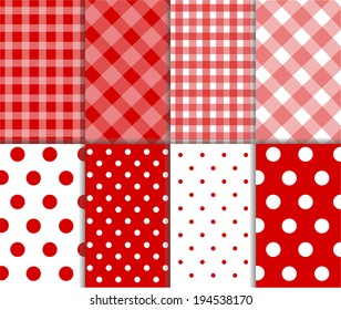 Set of seamless jumbo and small polka dots, checkered textile with large and small lines, and diagonal stripes in dark red, light red and white color. Vector art image illustration background
