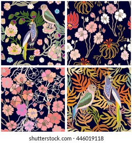 Set of seamless kimono patterns. Hand drawn fantasy birds, blooming cherry, golden palm leaves. Japanese, Chinese motifs. Oriental textile collection. Multicolored, black.