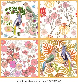 Set of seamless kimono patterns. Hand drawn fantasy birds, blooming cherry, golden palm leaves. Japanese, Chinese motifs. Oriental textile collection. Multicolored, white.