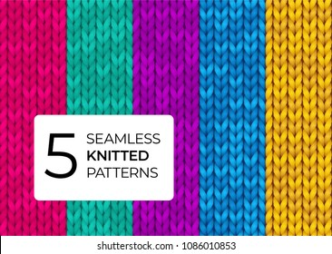 A set of seamless knitted patterns in bright modern colors. Colorful realistic knitted textures for the background of the site, postcards, wallpapers, invitations, banners. Vector illustration.
