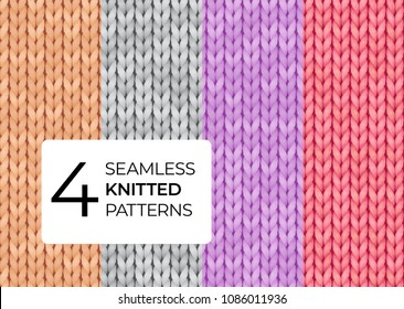 A set of seamless knitted patterns in pastel colors. Realistic knitted texture for the background of the site, postcards, invitations, wallpapers, banners. Vector illustration.