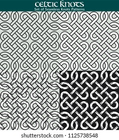 Set of Seamless Knots Patterns. 4 different versions of a seamless pattern with Celtic knots: with white filling, without filling, with shadows and with a black background.