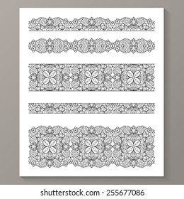 Set Of Seamless Lace Borders With Transparent Background Can Be Placed On Any You