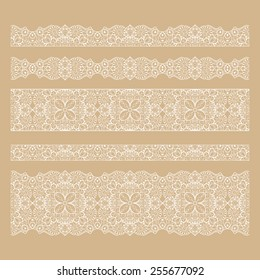 Set of seamless lace borders with transparent background, can be placed on any background you like. Tileable lace ribbons, can be infinitely repeated to suit your design needs.