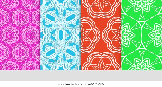 set of seamless lace floral background. decorative texture for wallpaper, invitation. Vector illustration.