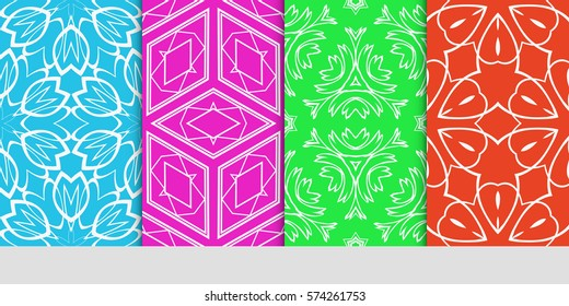 set of seamless lace floral background. Luxury texture for wallpaper, invitation. Vector illustration.