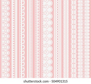 Set of seamless lattice borders. Ten white lace ribbons isolated on pink background. Vector illustration