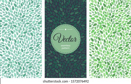 Set Seamless leaves pattern. Round label with text on a background of floral ornament. Packaging or label design template.