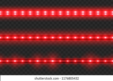 Set of seamless led glowing light stripes on transparent background