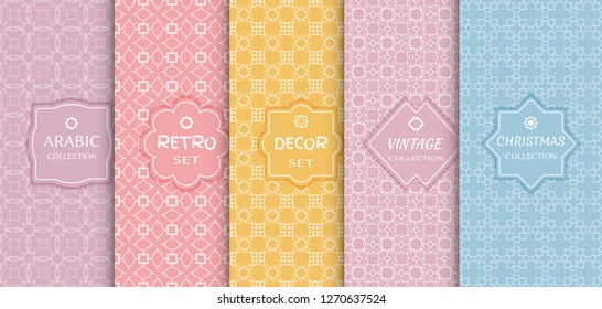 Set of seamless line patterns, colored background. Stylish decorative vintage, retro, arabic, christmas label decor set. Abstract geometric frame, vector illustration. Art Deco style, light colors