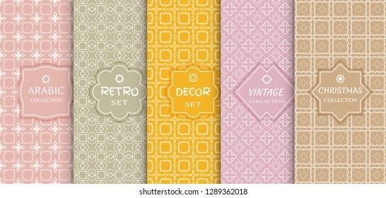 Set of seamless line patterns, colored background. Stylish decorative vintage, retro, arabic, christmas label decor set. Abstract geometric frame, vector illustration. Art Deco style, light colors